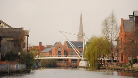 The City of Norwich viewed from the River Wensum. The Lady Julian Bridge at Riverside. Picture: Deni