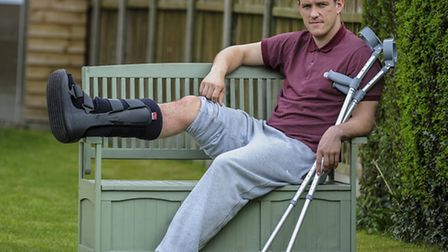 Jack Defty sporting cast after breaking his leg in 2013. Picture: Matthew Usher.