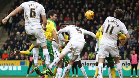 Bradley Johnson of Norwich scores his sides 1st goal during the Sky Bet Championship match at Carrow