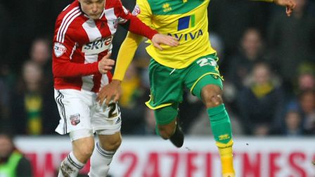 Nathan Redmond will be a big threat for Norwich City against Wolves at Carrow Road. Picture by Paul