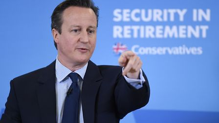 Prime Minister David Cameron makes a speech at the Saga offices in Hastings, Kent on Sunday. Photo: