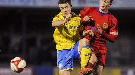 Sam Mulready, left, in action against Skelmersdale last month. Picture: MATTHEW USHER
