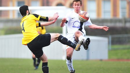 Yarmouth, yellow, have a cup semi-final to look forward to this afternoon. Picture: NICK BUTCHER