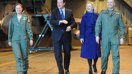 Prime Minister David Cameron at RAF Marham with (L) Wing Cdr Nikki Thomas, Elizabeth Truss MP and Ai