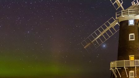 A picture of the Northern Lights by Cley Windmill. Picture: JAMES ROWLEY-HILL
