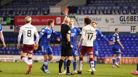 Flynn Downes is shown the red card.