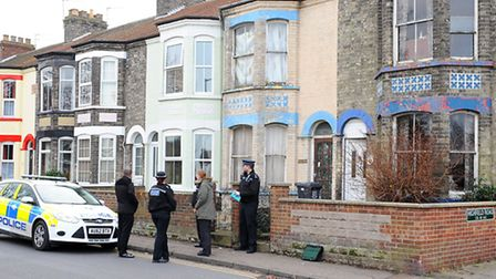Police outside a home on High Road in Gorleston.Picture: James Bass