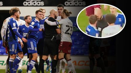 Referee Darren Drysdale appeared to square up to Ipswich Town's Alan Judge this evening