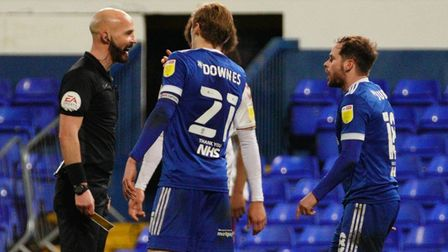 Alan Judge has words with referee Darren Drysdale after being denied a penalty.