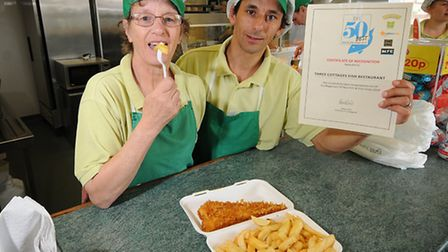 Paula Audley and Sam Homfray from The Three Cottages Fish Shop in North Walsham, which is offering