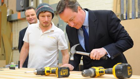 Prime Minister David Cameron visiting a New Enterprise Zone at Mobbs Way in Lowestoft. Steven Butche