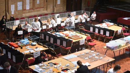 The votes being counted in Ipswich