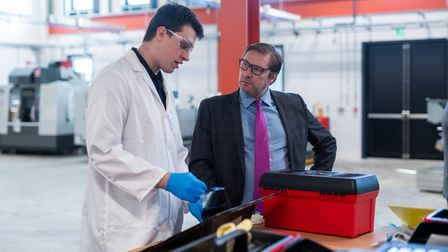 Mayor James Palmer on a pre-Covid visit to a local company and to see the efforts put in to boost training.
