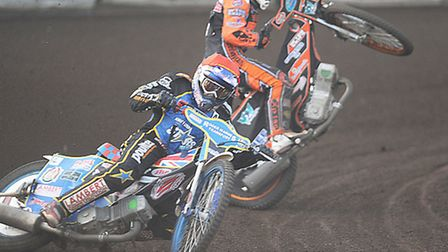 The crash which saw Ashley Morris sustain serious head injuries at his new home track last season. P