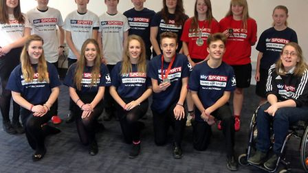 Paralympian Fran Williamson (front right) with the North Walsham High School students