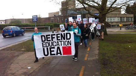 Students marching from University of East Anglia. PIC: Peter Walsh
