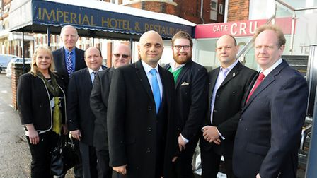 Secretary of State for culture media and sport, Sajid Javid (centre) in Great Yarmouth for a round t