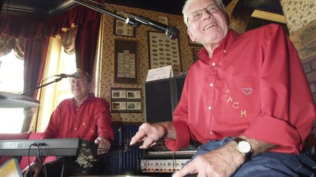 Jack Hall drumming with Trevor Hart in Mundesley when he was 84.