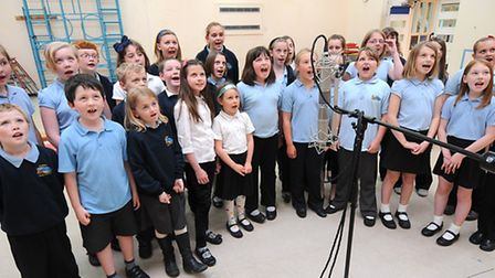 Cromer Junior School pupils record their road safety song.PHOTO: ANTONY KELLY