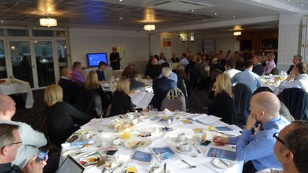 Guests listen at the Broadland business breakfast at The Oaklands Hotel, Norwich
