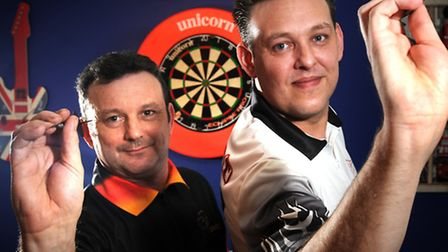 Pro darts player Jason Lovett pictured with fellow darts player and training partner Darren Webster.