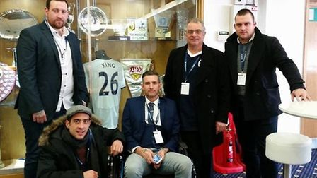 Ryan Harman with his brothers and dad at Spurs for his VIP experience