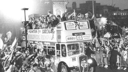 Norwich City's Milk Cup winners parade the trophy through the city centre. Picture: Archant archive