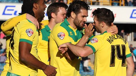 Norwich City celebrate Wes Hoolahan's goal during their 4-1 win at Millwall. Picture: Paul Chesterto