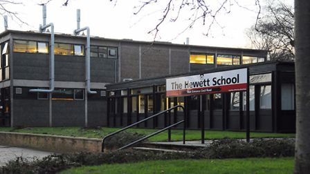 Hewett School sign and entrance on Hall Road. Picture: Denise Bradley