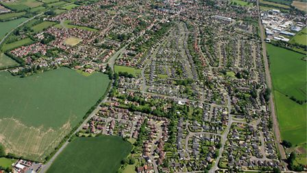 Picture shows: Aerial view of Attleborough looking north east.June 2005Picture by: Mike Page
