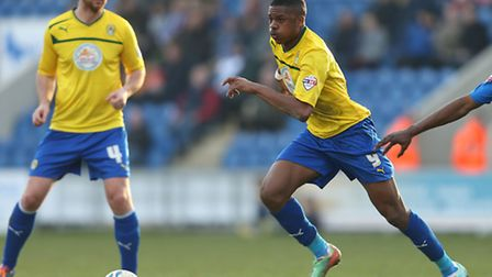 Arsenal's in-demand striker Chuba Akpom during a previous loan stint at Coventry City. Photo: Stephe