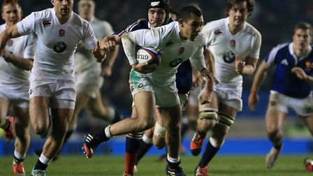 England's Joe Marchant (middle) and Will Owen (right) in action against France during the 2015 RBS S