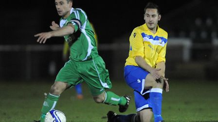 Paul Cook (right) fired Norwich United into the Thurlow Nunn League Cup final in midweek. Picture by