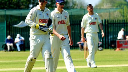 Norfolk v Suffolk Unicorns KO Trophy match, May 2014, Callum Taylor (centre) leaving the field with