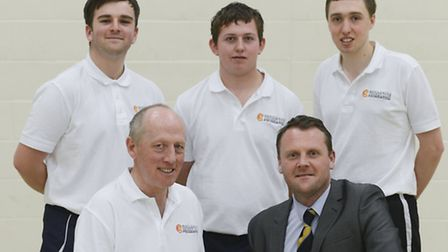 Cricket coaching at King Edward VII High School - From left, Josh Ring, Tim Coote, Jack Southgate, R