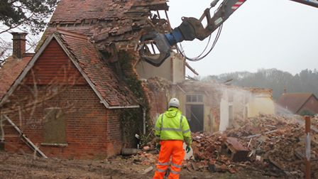 Going . . . The former Hilbre School at Sheringham, which has been demolished to make way for new ho