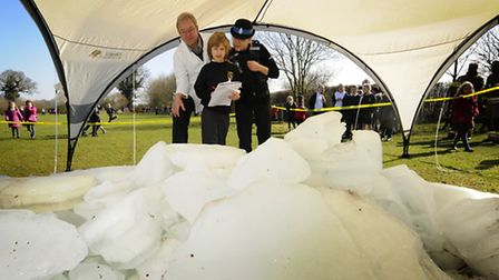 Mystery ice at Coltishall Primary School. UEA environmental scientist Prof. Julian Andrews and PCSO