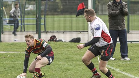 Martin Cullum touches down for Norwich during Saturday's excellent win at Campion. Picture: Andy Mic