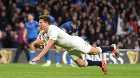 England's Ben Youngs scores his second try during England's 55-35 victory over France at Twickenham