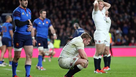 England's Tom Youngs at the final whistle of England's 55-35 victory over France at Twickenham Stadi