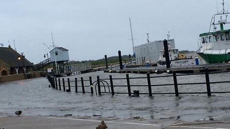 Wells Quay at high tide this morning. Picture: Robert Smith