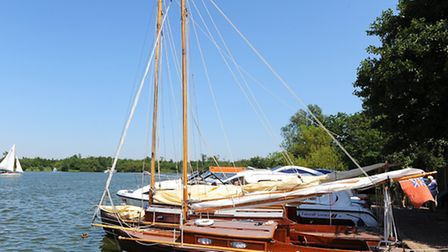 Day boats, sailing boats and cruisers moored at Ranworth Staithe on the Norfolk Broads.Picture: Jame