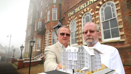 Architect Bernard Smith, left, and owner Steve McDermot with a model of the original plans for the B