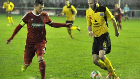 Jon Fairweather in action for Wisbech against AFC Rushden & Diamonds during the return fixture. Pict