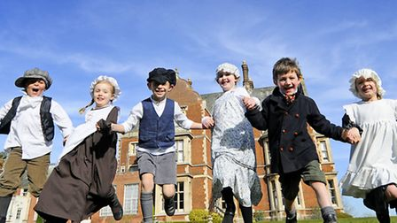Taverham Hall Pre-Prep School pupils dressed in Victorian clothes for the day. Left to right, Sam, A