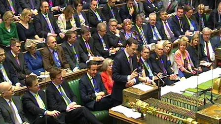 Chancellor of the Exchequer George Osborne delivers his Budget statement to the House of Commons PA