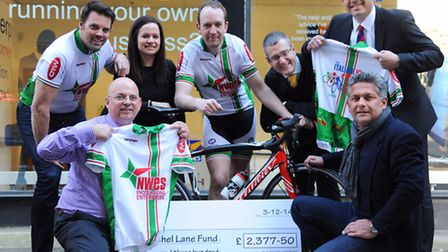 Cyclists from Nwes, with Amanda Lansom and her brother Nick Lane, front right, from the Rachel Lane