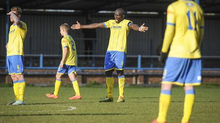 Action from King's Lynn Town v Blyth Spartans - Lynn's Henry Eze screams after the 3 goal. Picture: