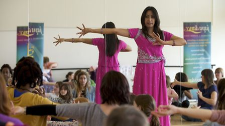 Bollywood workshop at the Atrium in North Walsham with Textile printing, henna tattooing and Bollywo