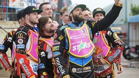 Rory Schlein taking a selfie with the Leicester Lions. Picture: Ian Burt